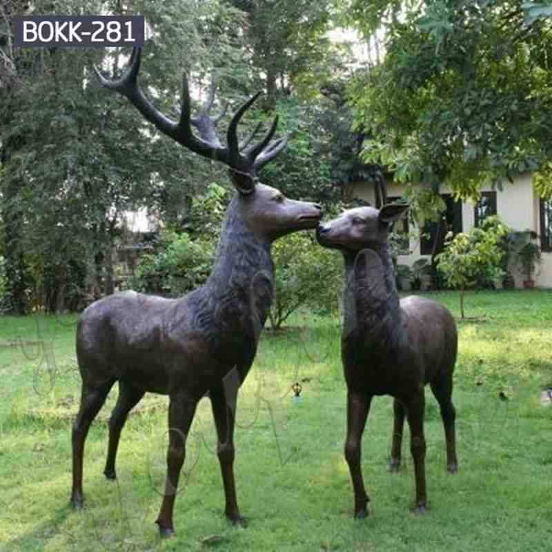 Life Size Bronze Outdoor Deer Statues for Garden Decor