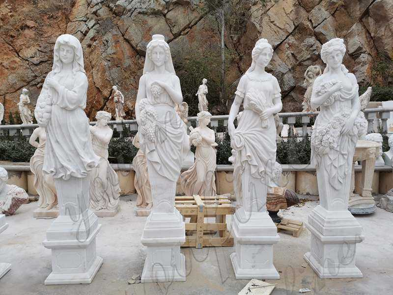Life Size Four Seasons Marble Statues Garden Decor