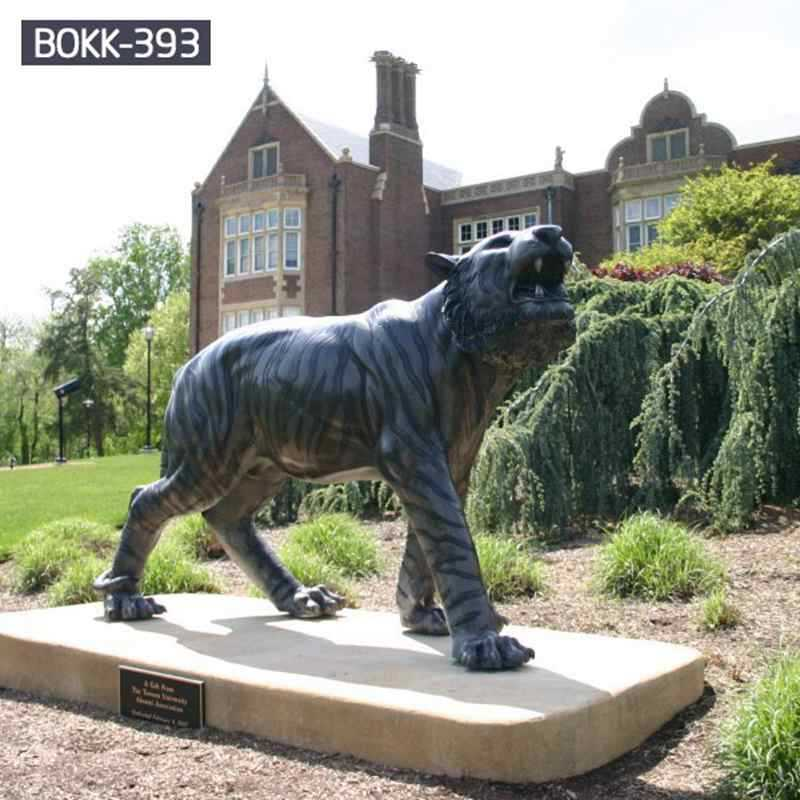 Life Size Outdoor Garden Black Bronze Tiger Sculpture for Sale