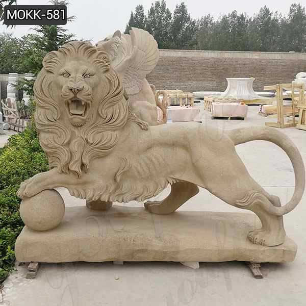 Life Size Outdoor Stone Lion Statue with A Ball for Sale MOKK-581