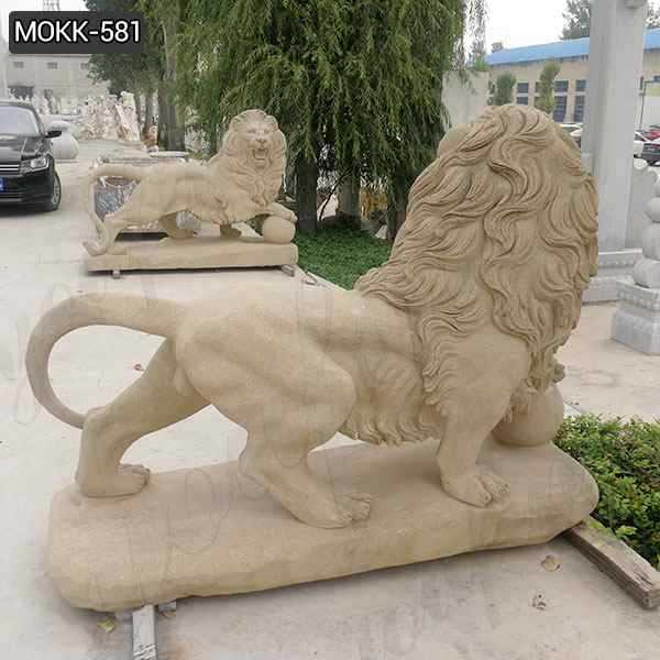 Life Size Outdoor Stone Lion Statue with A Ball