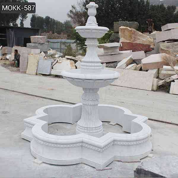 Life Size Simple Two Tiered White Marble Fountain Design Supplier