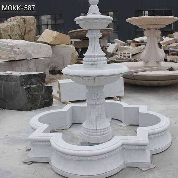 Life Size Simple Two Tiered White Marble Fountain