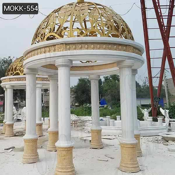 Large Marble Gazebo with Round Pillars for Wedding Decorations on Sale MOKK-554