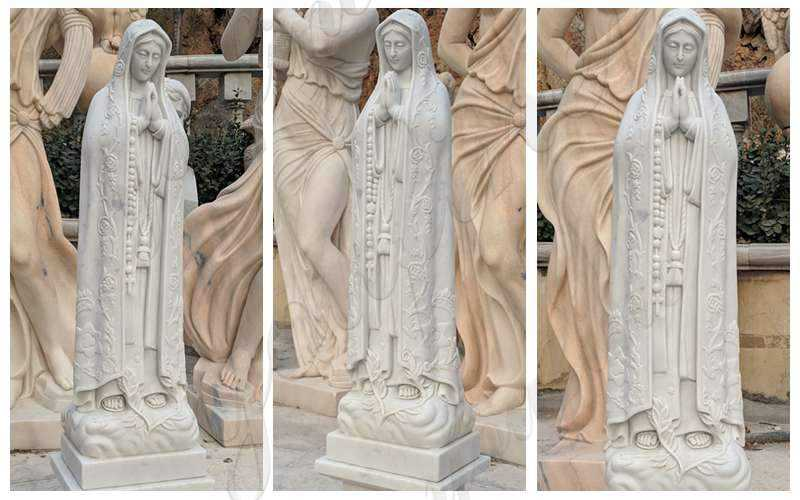 Marble Virgin Mother Mary Lady Statue