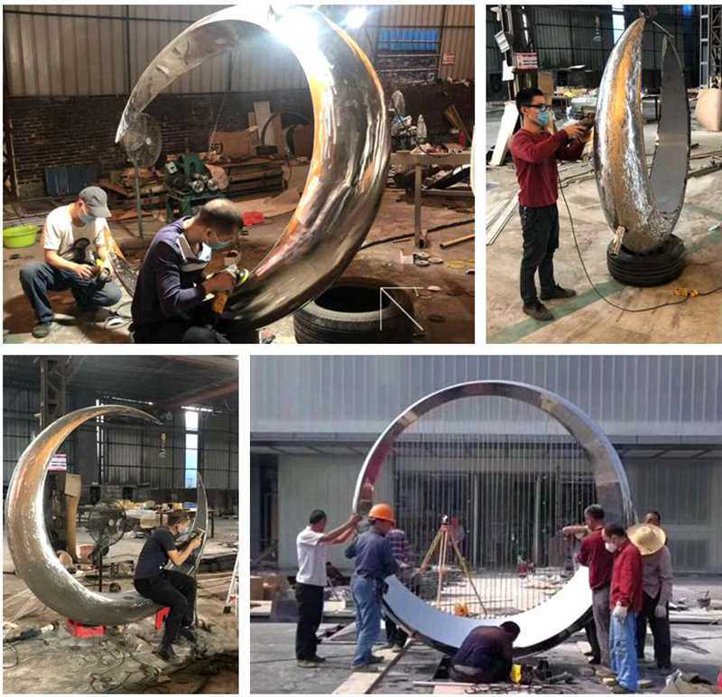 Modern Stainless Steel Ring Sculpture