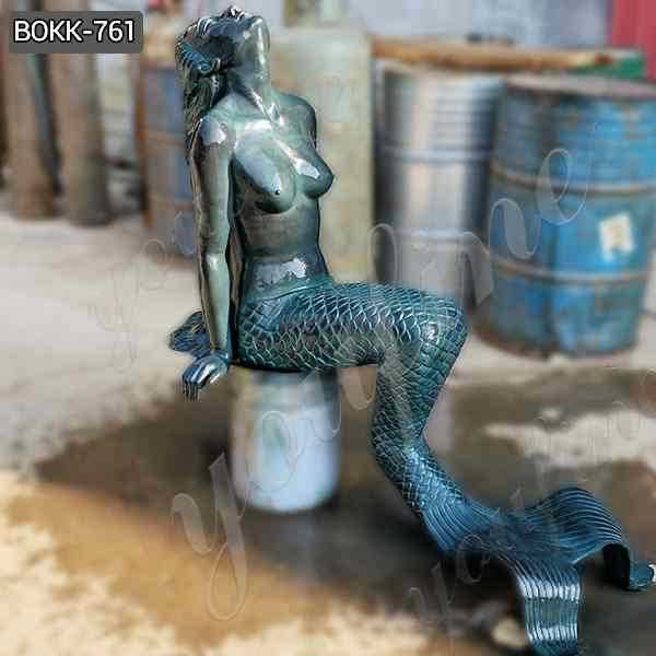 Outdoor Casting Solid Bronze Sitting Mermaid Statue Decor