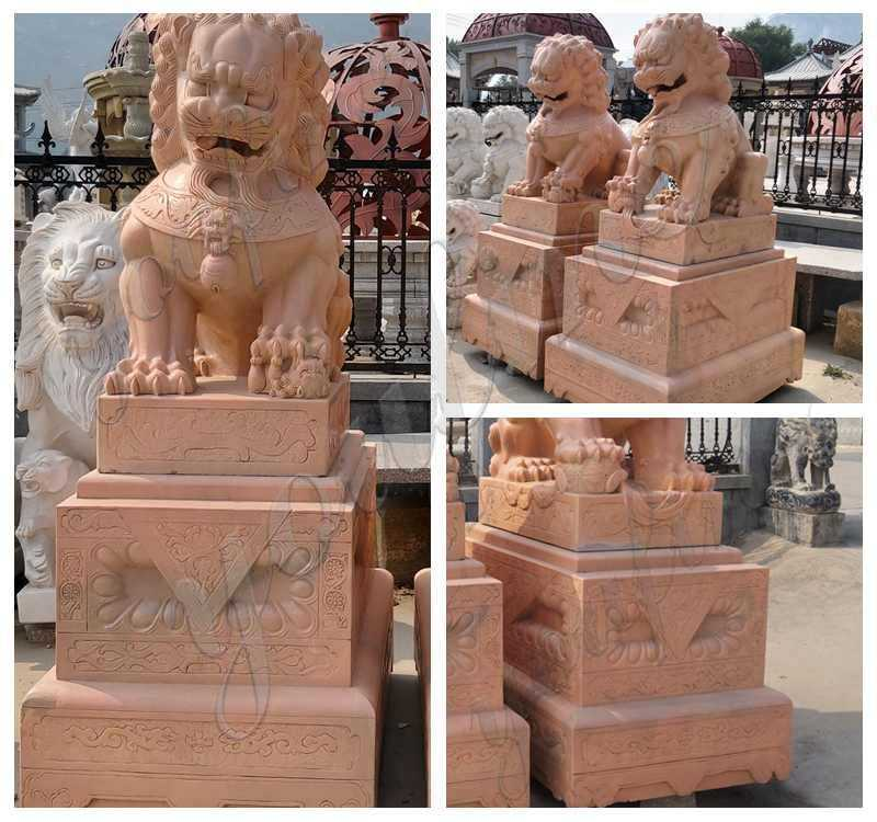Outdoor Marble Chinese Foo Dog Statues Ornaments for Sale