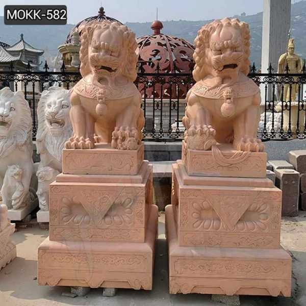 Outdoor Red Marble Chinese Foo Dog Statues Ornaments for Sale