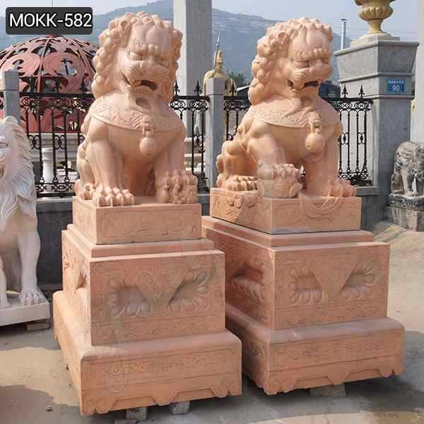 Outdoor Red Marble Chinese Foo Dog Statues Ornaments
