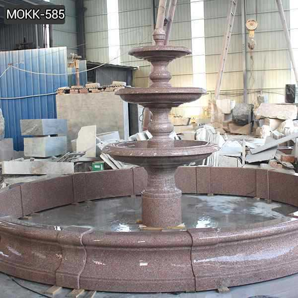 Outdoor Red Stone Three Tiered Water Fountain Design Manufacturer