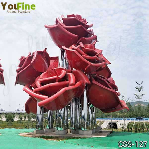 Outdoor Rose Stainless Metal Flowers Sculpture for Sale Supplier