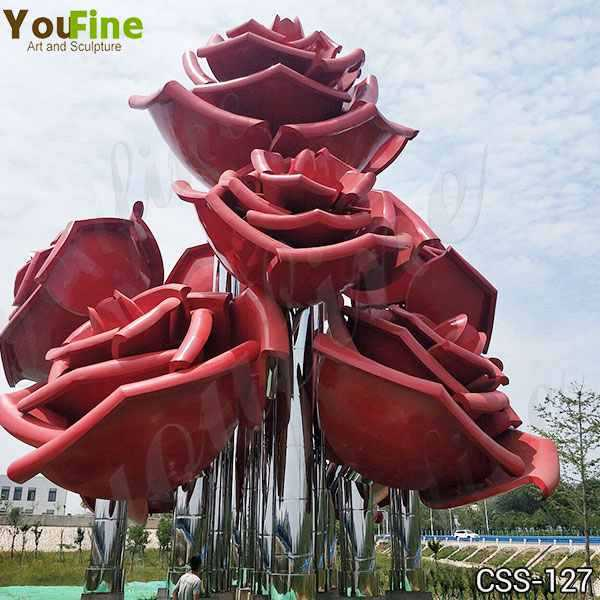 Outdoor Rose Stainless Metal Flowers Sculpture for Sale