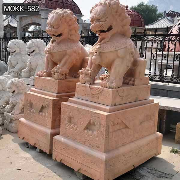 Red Marble Chinese Foo Dog Statues Ornaments for Sale