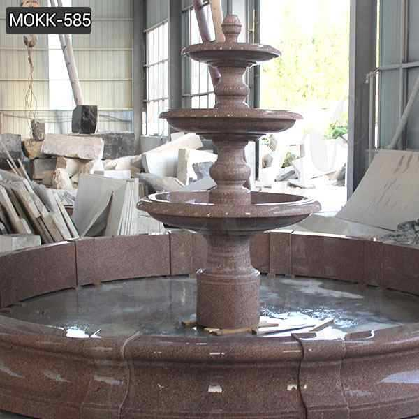 Red Stone Three Tiered Water Fountain Design Manufacturer