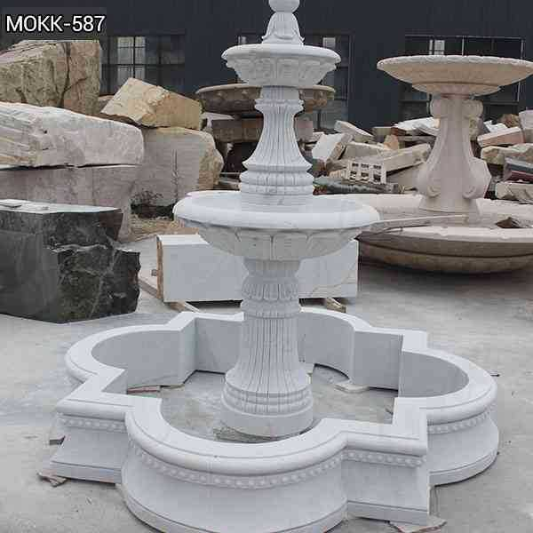 Simple Two Tiered White Marble Fountain Design Supplier