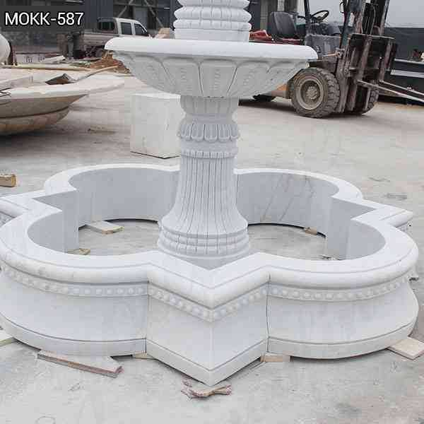 Simple Two Tiered White Marble Fountain Design