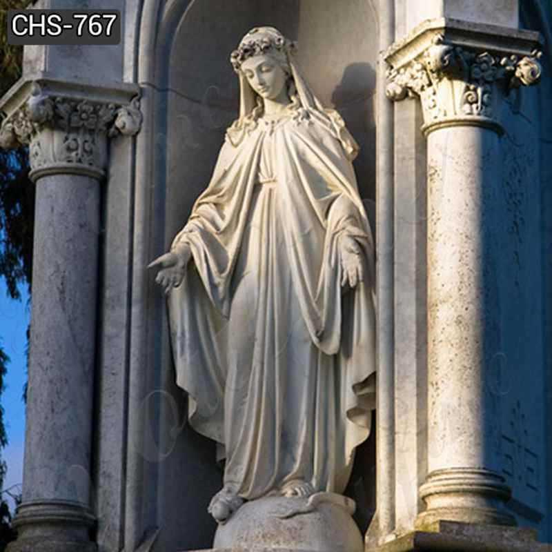 Virgin Mary Marble Statue for Catholic Church Decor