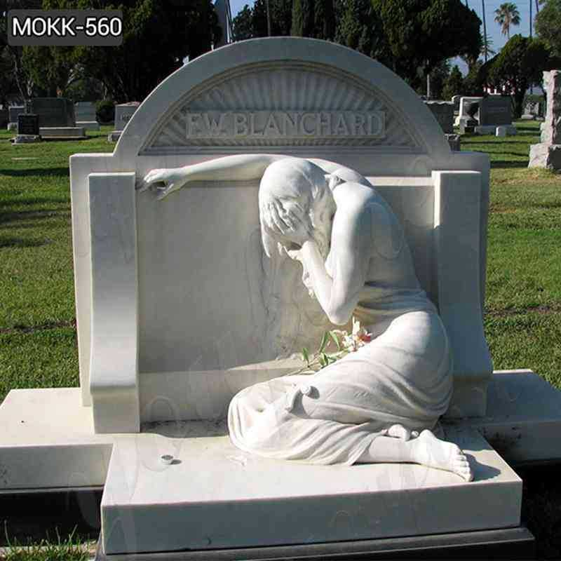 White Marble Upright Tombstone with Sorrowful Woman Statue for Sale