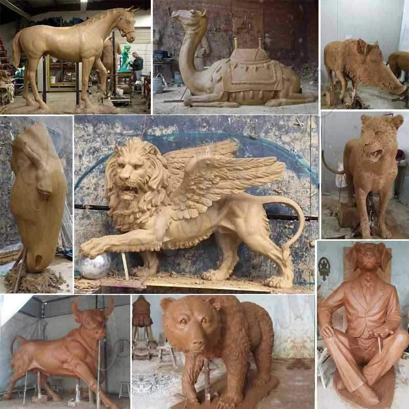 clay mold of bronze animal statue