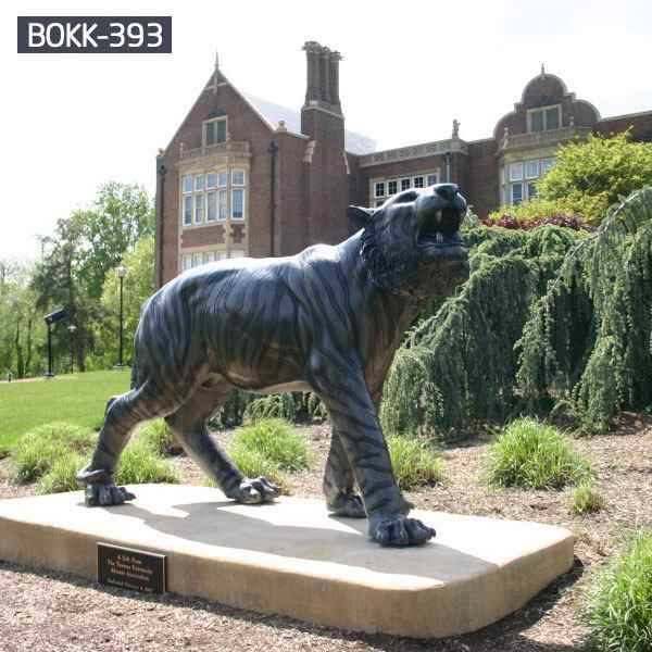 Life Size Outdoor Garden Black Bronze Tiger Sculpture for Sale BOKK-393
