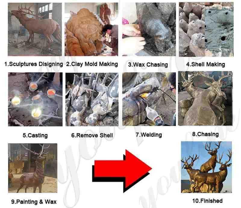 process of bronze deer statue