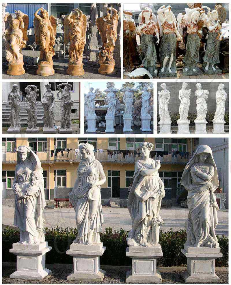 the four goddesses of the seasons statues