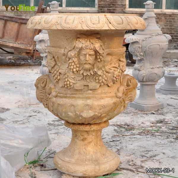 Hand Carved Decorative Beige Marble Flower Pot Manufacturer