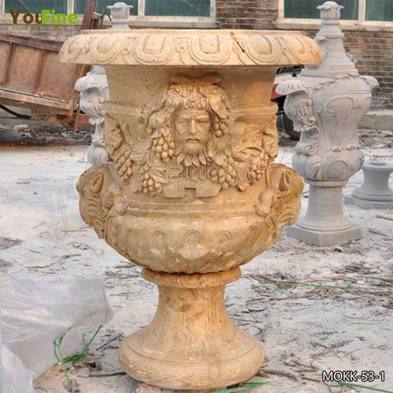 Hand Carved Decorative Beige Marble Flower Pot Manufacturer MOKK-53-1