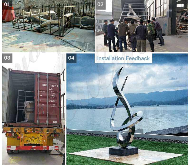 Large metal stainless steel clock sculpture,