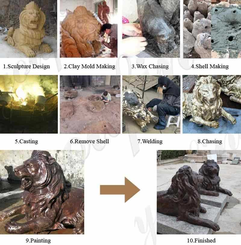 Life Size Bronze Lion Statues for Front Porch for Sale