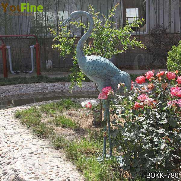 Antique Bronze Life Size Crane Bird Sculpture for Garden Decor