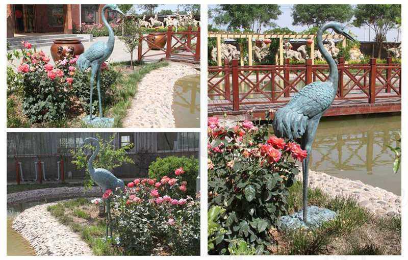Antique Life Size Crane Bird Sculpture for Garden Decor