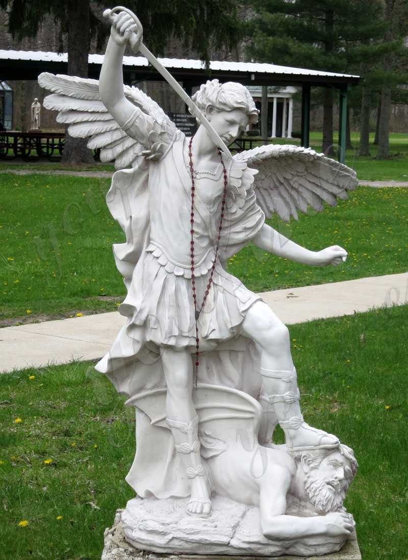 Archangel Michael Slaying the Devil Marble Statue