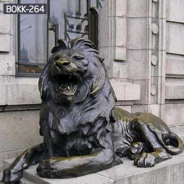 Western Life Size Bronze Lion Statues for Front Porch for Sale