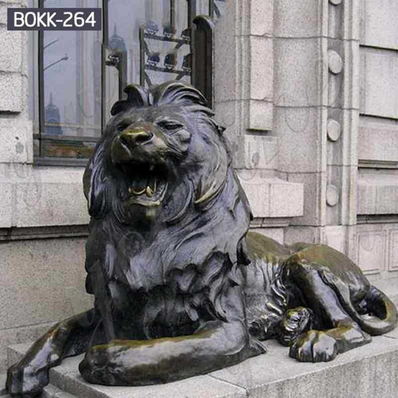 Western Life Size Bronze Lion Statues for Front Porch for Sale BOKK-264