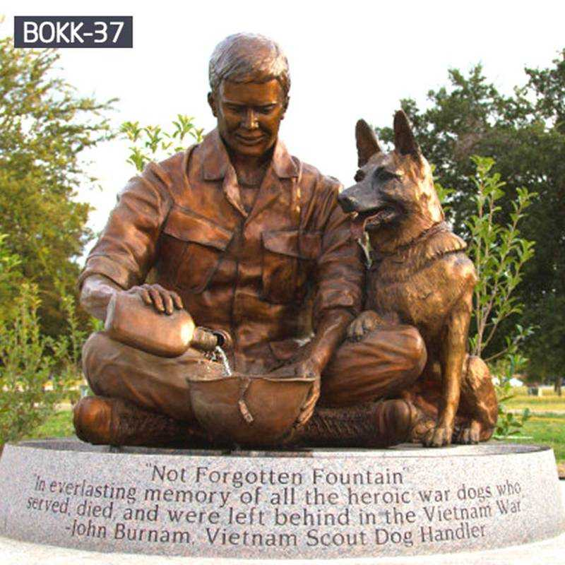 Where to Buy Memorial Not Forgotten Fountain Bronze Military Dog and Soldier Statue BOKK-37