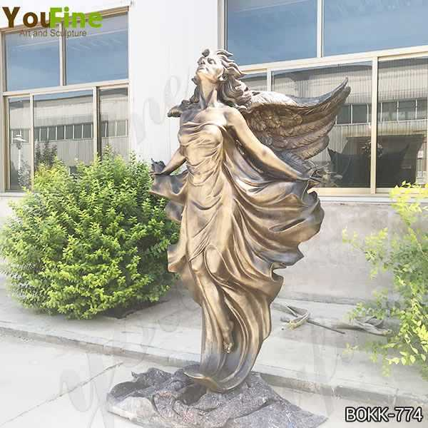 Beautiful Casting Life Size Bronze Flying Angel Lady Statue