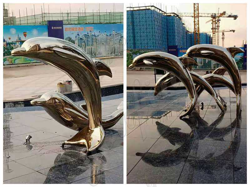 Beautiful Champagne Gold Dolphin Stainless Steel Sculpture