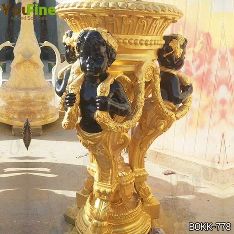 Beautiful Custom Made Golden Bronze Flower Pot Manufacturer BOKK-778