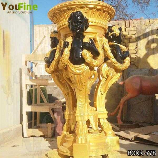 Beautiful Custom Made Golden Bronze Flower Pot