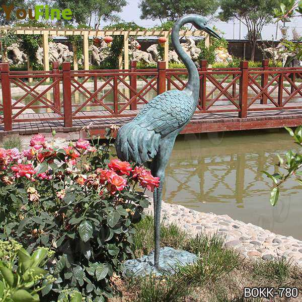 Antique Bronze Life Size Crane Bird Sculpture for Garden Decor  Supplier BOKK-780