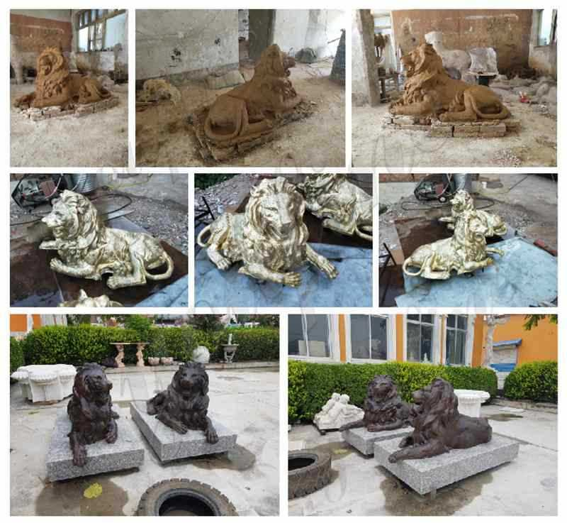 Bronze Lion Statue for Outdoor Driveway