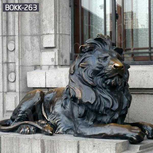 Casting Bronze Lion Statue for Outdoor Driveway Manufacturer BOKK-263
