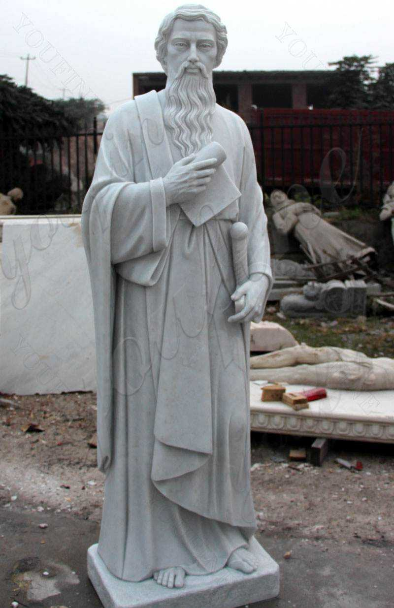 Catholic White Marble Saint Paul the Apostle Statue Supplier