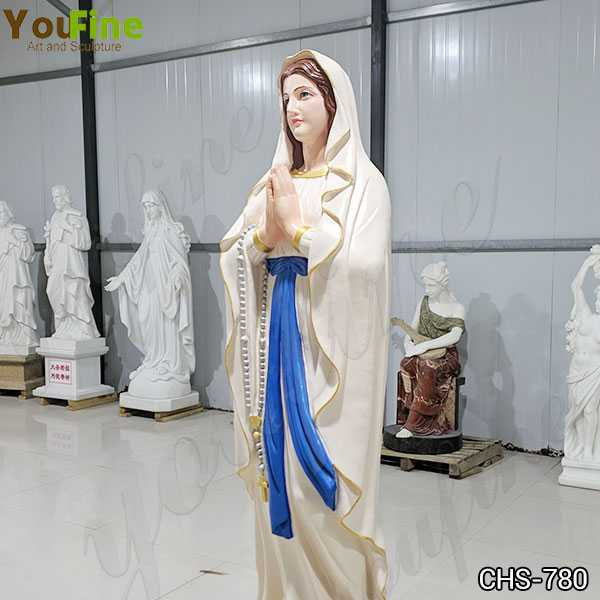 Colorful Life Size Marble Blessed Mother Mary Statue Made