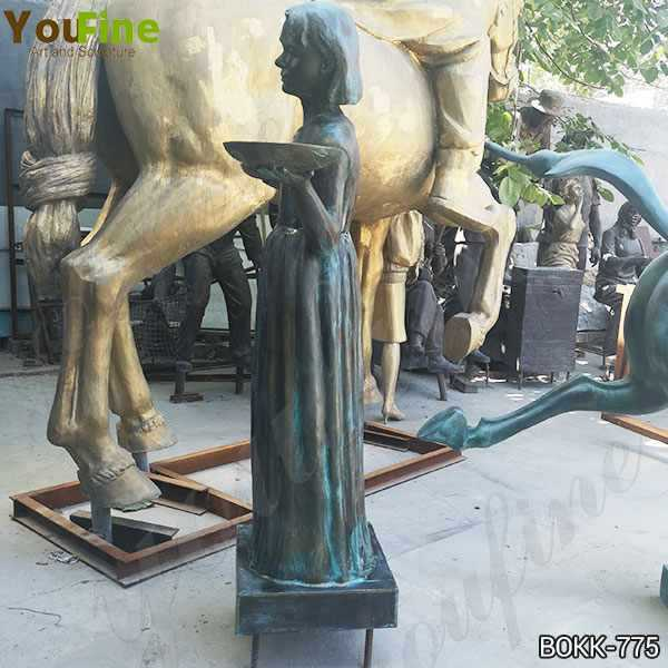 Custom Made Bronze Lady Holding Two Plates Statue