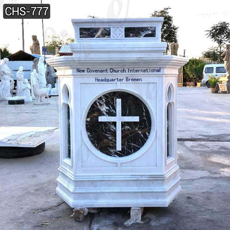 Custom Made White Marble Pulpit for Catholic Church Decor Supplier CHS-777