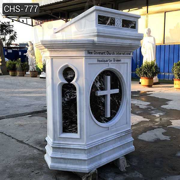 Custom Made White Marble Pulpit for Catholic Church Decor