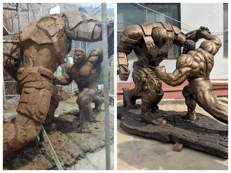 Famous Movie Star Bronze Hulk and Samurai Statue for Sale